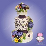 elaborate flower art 3 tier wedding cake