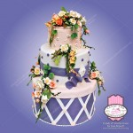 fancy flowers wedding cake