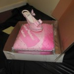 delicate shoe on pillow birthday cake