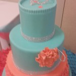 pink and blue elegant birthday cake