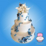 3 tier cake with butterflies and flowers