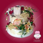 sugar art flowers birthday cake